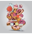 Big composition of bakery products characters vector image vector image