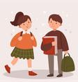 boy and girl go to school modern school uniform vector image