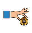 businessman hand holding bitcoin currency digital vector image