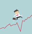 businessman jumps over the gap in growth chart vector image vector image
