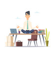 businessman yoga meditation office relax in vector image