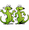 cartoon a two happy dancing lizard vector image