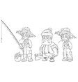 cartoon fisherman farmer lumberjack character set vector image vector image