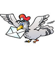 cartoon of a post pigeon flying with a letter vector image