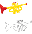 Cartoon trumpet vector image