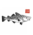 Cod black and white vector image vector image