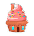 cupcake house with chimney on creamy roof vector image