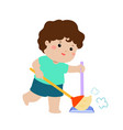 cute boy sweeping the dust on a white background vector image vector image