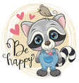 cute cartoon raccoon with flower vector image vector image
