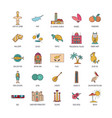 cyprus icons set cartoon style vector image vector image