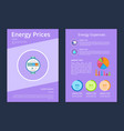 energy prices and expenses two statistics posters vector image vector image