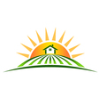 Farm House with Sun Logo vector image vector image