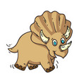 funny baby dinosaur triceratops isolated on white vector image