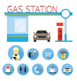 Gas Station and Service Objects icons Set vector image vector image