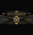 gift voucher template with glitter gold elements vector image