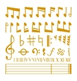 gold icons set music note melody symbols vector image vector image