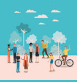 group of person doing activities in the park vector image