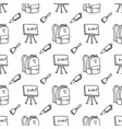 hand drawn school supplies in seamless pattern vector image