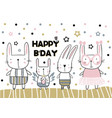 happy birthday card in handwritten childish style vector image vector image