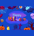 happy halloween greeting card with celebration vector image