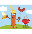 Happy King Sausage Cartoon vector image vector image