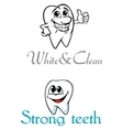 Happy smiling cartoon teeth for logo or emblem vector image vector image