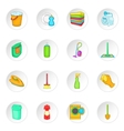 Household elements icons set cartoon style vector image
