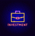 investment neon label vector image vector image