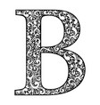 letter b letter black with white ornament vector image vector image