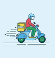 man in helmet riding scooter with carton box with vector image vector image