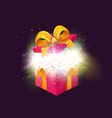 opened surprise gift box with confetti explosion vector image vector image