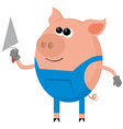 Pig as the bricklayer vector image