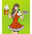 pop art of girl with beer and vector image vector image