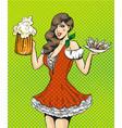 pop art of girl with beer vector image