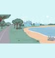 renewable energy sources in eco city sea beach vector image
