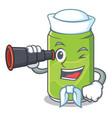 sailor with binocular soft drink character cartoon vector image vector image