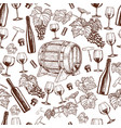 seamless pattern of sketch wine icons vector image