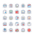 seo and marketing colored line icons 1 vector image