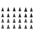 set of black and white christmas tree icons vector image