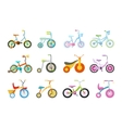 Set of Kids Bicycles and Tricycles vector image vector image