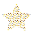 Star made from different many little stars on vector image vector image