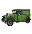 the vintage green van vector image vector image