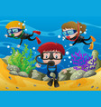 three kids diving under the ocean vector image