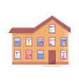 three storey house people windows building vector image vector image