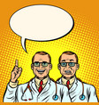 two doctors joyful and skeptical medicine and vector image vector image