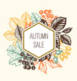 vintage autumn floral frame with leaves vector image vector image