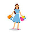 young happy smiling woman in blue dress and long vector image vector image