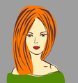 Posh Red Hair Girl with Red Lipstick in G vector image