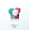 3D Cube Toy Game gray pink Purple blue color vector image vector image