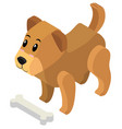 3d design for cute puppy and bone vector image vector image